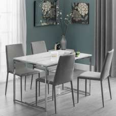 Angeles Marble Effect Dining Table In White 4 Fredo Grey Chairs