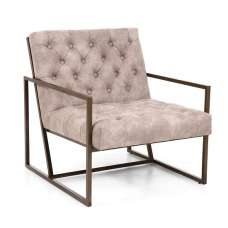 Angelo Suede Effect Arm Chair In Beige With Metal Frame