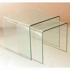 Angola Bent Clear Glass Nesting Table