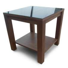 Anneli Glass Side Table In Walnut And Black High Gloss
