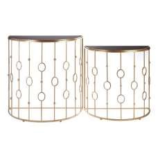 Annie Art Deco Glass Console Tables In Black And Gold