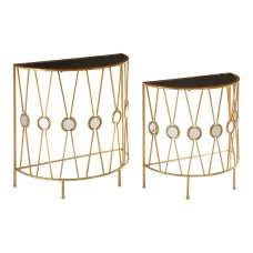 Annie Set Of 2 Glass Console Tables In Black With Gold