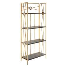 Annie 4 Tier X-Design Folding Shelving Unit In Black And Gold