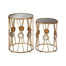 Annie Set Of 2 Glass Accent Tables Round In Black And Gold