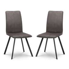 Anya Fabric Dining Chairs In Charcoal Grey Suede In A Pair