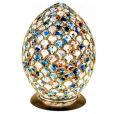 Apollo Medium Mosaic Glass Egg Table Lamp In Blue Tile