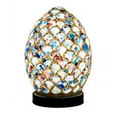 Apollo Mini Mosaic Glass Egg Table Lamp In Blue Tile