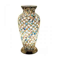 Apollo Mosaic Glass Vase Table Lamp In Blue Tile
