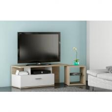 Apollo TV Stand In Brushed Oak And Pearl White With 1 Drawer