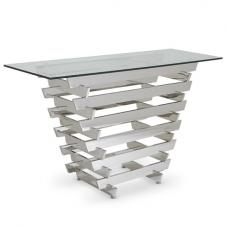 Aqua Glass Console Table With Polished Stainless Steel Base