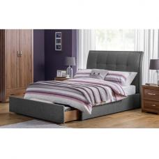 Aramis Fabric Double Bed In Slate Grey Linen With Drawer