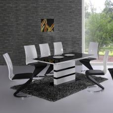 Arctica White Extending Black Glass Dining Table Only