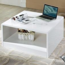 Arden Contemporary Coffee Table Square In White High Gloss
