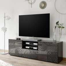 Ardent TV Stand Wide In Grey High Gloss With 2 Doors