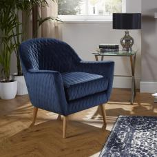 Ardoise Fabric Lounge Chair In Blue Velvet With Wooden Legs