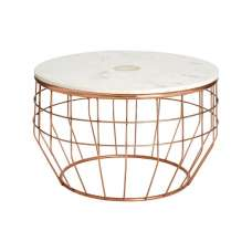 Arenza Marble Coffee Table Round In White And Copper Finish