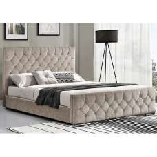 Ariana Fabric Super King Size Bed In Mink With Chrome Legs