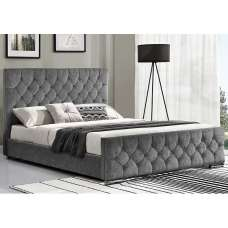 Ariana Fabric Super King Size Bed In Silver With Chrome Legs