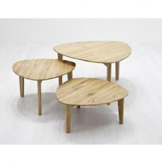 Ariana Wooden Set Of 3 Coffee Table In Knotty Oak