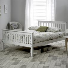 Arianna Wooden Bed In Stone White Pine