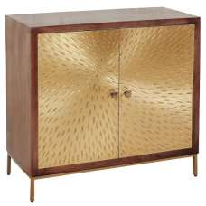 Arielle Storage Cabinet In Dark Wood With 2 Gold Metal Doors