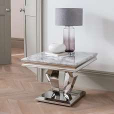 Arlesey Marble Lamp Table In Grey With Stainless Steel Legs