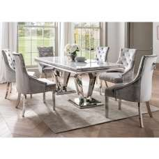 Arlesey Marble Dining Table In Grey With 6 Pewter Velvet Chairs