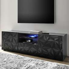 Arlon TV Stand Wide In Grey High Gloss With 2 Doors And LED