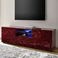 Arlon TV Stand Wide In Red High Gloss With 2 Doors And LED