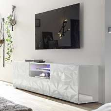 Arlon TV Stand Wide In White High Gloss With 2 Doors And LED
