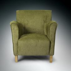Armada Modern Fabric Arm Chair In Olive With Wooden Legs