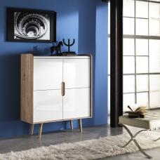 Armano Highboard In Oak And White High Gloss With 4 Doors