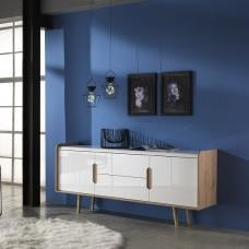 Armano Sideboard In Oak And White High Gloss With 2 Doors