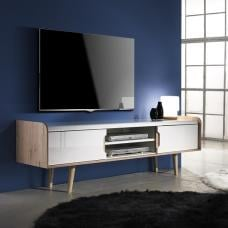 Armano TV Stand In Oak And White High Gloss With 2 Doors