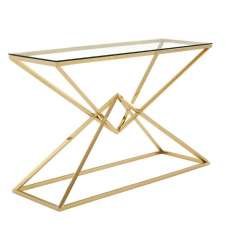 Armenia Glass Console Table With Champagne Gold Steel Frame