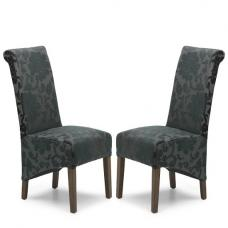 Arora Dining Chair In Charcoal Fabric With Dark Legs In A Pair