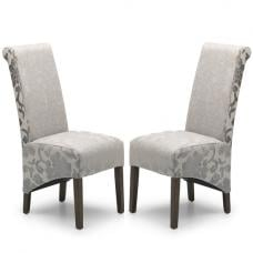 Arora Dining Chair In Mink Fabric And Dark Legs In A Pair