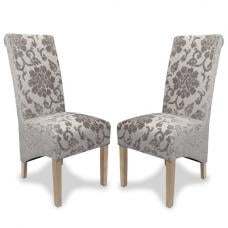 Arora Dining Chair In Mink Fabric With Oak Legs In A Pair