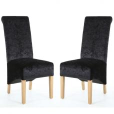 Arora Fabric Dining Chair In Black Velvet In A Pair