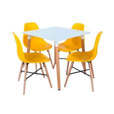 Arturo Bistro Table Square In White With 4 Yellow Chairs