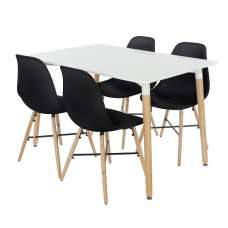 Arturo Dining Table Rectangular In White With 4 Black Chairs