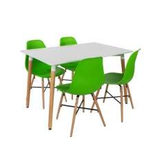 Arturo Dining Table Rectangular In White With 4 Green Chairs
