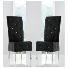 Asam Dining Chair In Black Faux Leather in A Pair