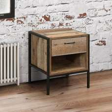 Ashton 1 Drawer Bedside Cabinet In Rustic With Metal Frame