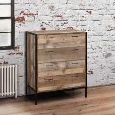Ashton Drawers Chest In Rustic With Metal Frame And 4 Drawers