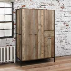 Ashton Wardrobe Wide In Rustic With Metal Frame And 4 Doors