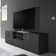 Aspen Modern TV Sideboard In Grey High Gloss With LED