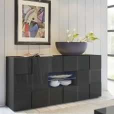 Aspen Modern Sideboard In Grey High Gloss With LED