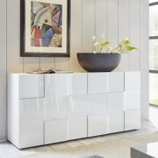 Aspen Modern Sideboard In White High Gloss With 3 Doors