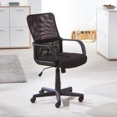 Astana Home Office Chair In Black Fabric And Mesh With Castors